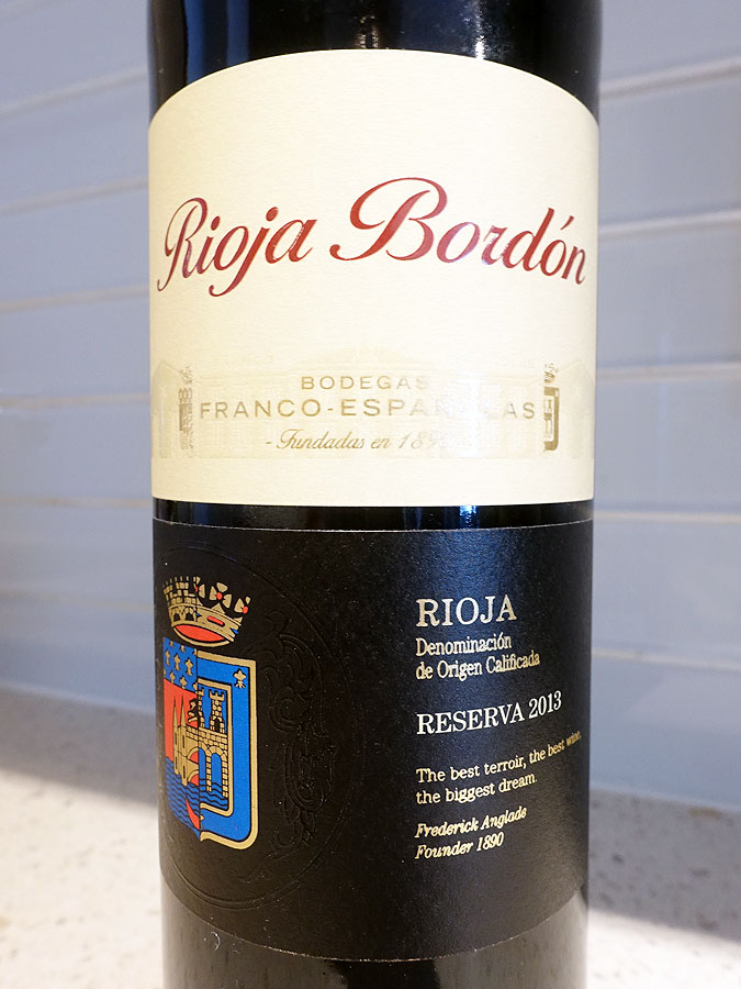 Rioja Bordón Reserva 2013 (89 pts)
