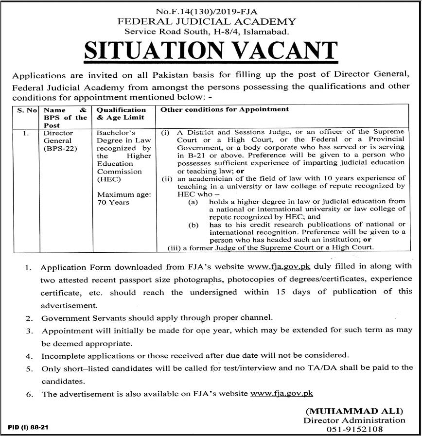 Jobs in Federal Judicial Academy Govt of Pakistan