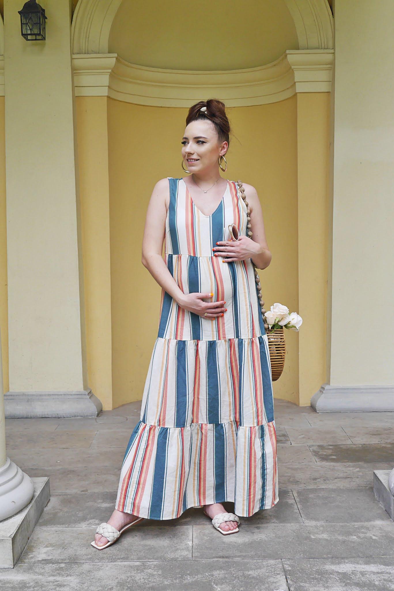 blog modowy blogerka modowa karyn puławy look dluga letnia sukienka w paski bonprix drewniany koszyk renee okragle okulary beżowe klapki shein stylizacja letnia ciążowa moda ciążowa look outfit jak ubrać się w ciąży