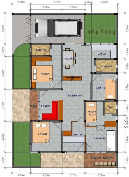 20 denah rumah minimalis 1 lantai 3 kamar tidur yang