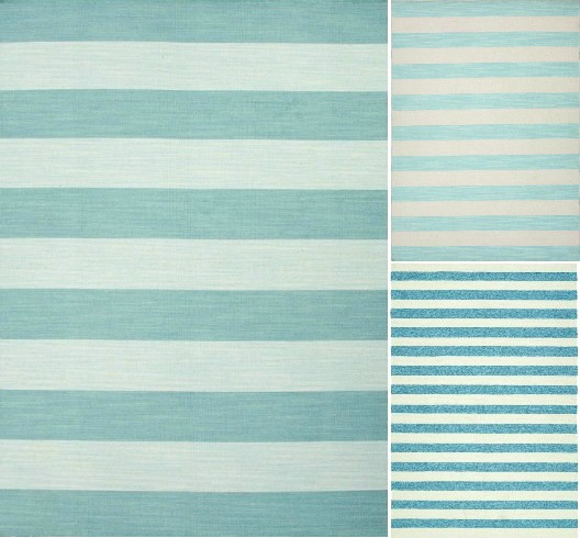 Light Blue Striped Rugs