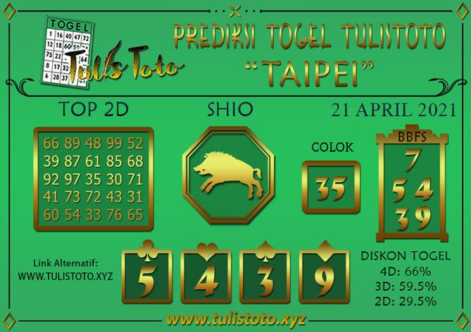Prediksi Togel TAIPEI TULISTOTO 21 APRIL 2021