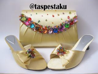 Gold Emas Tas Pesta dan Sandal Sepatu Pesta