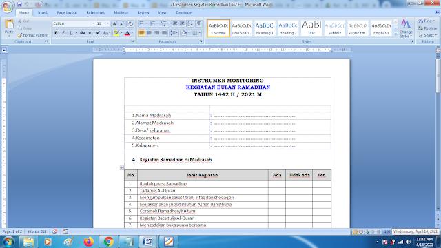 Download Instrumen Monitoring Kegiatan Bulan Ramadhan Tahun 1442 H / 2021 M