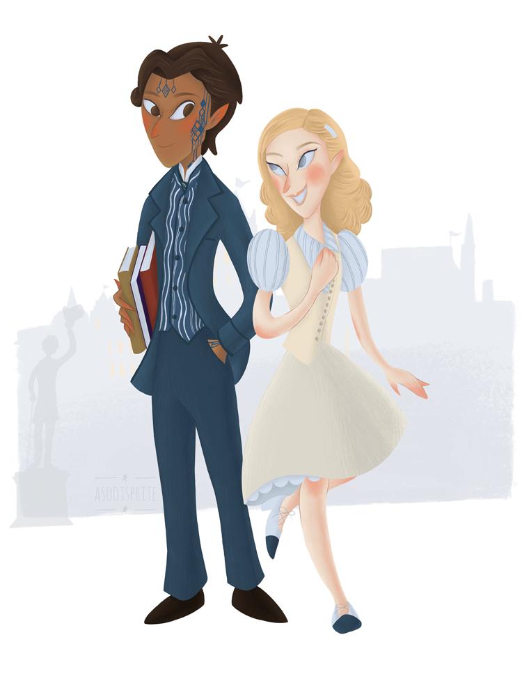 fiyero and glinda wicked musical broadway digital illustration