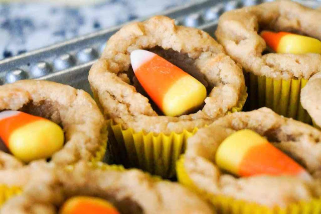 Easy Candy Corn Peanut Butter Cup Cookies