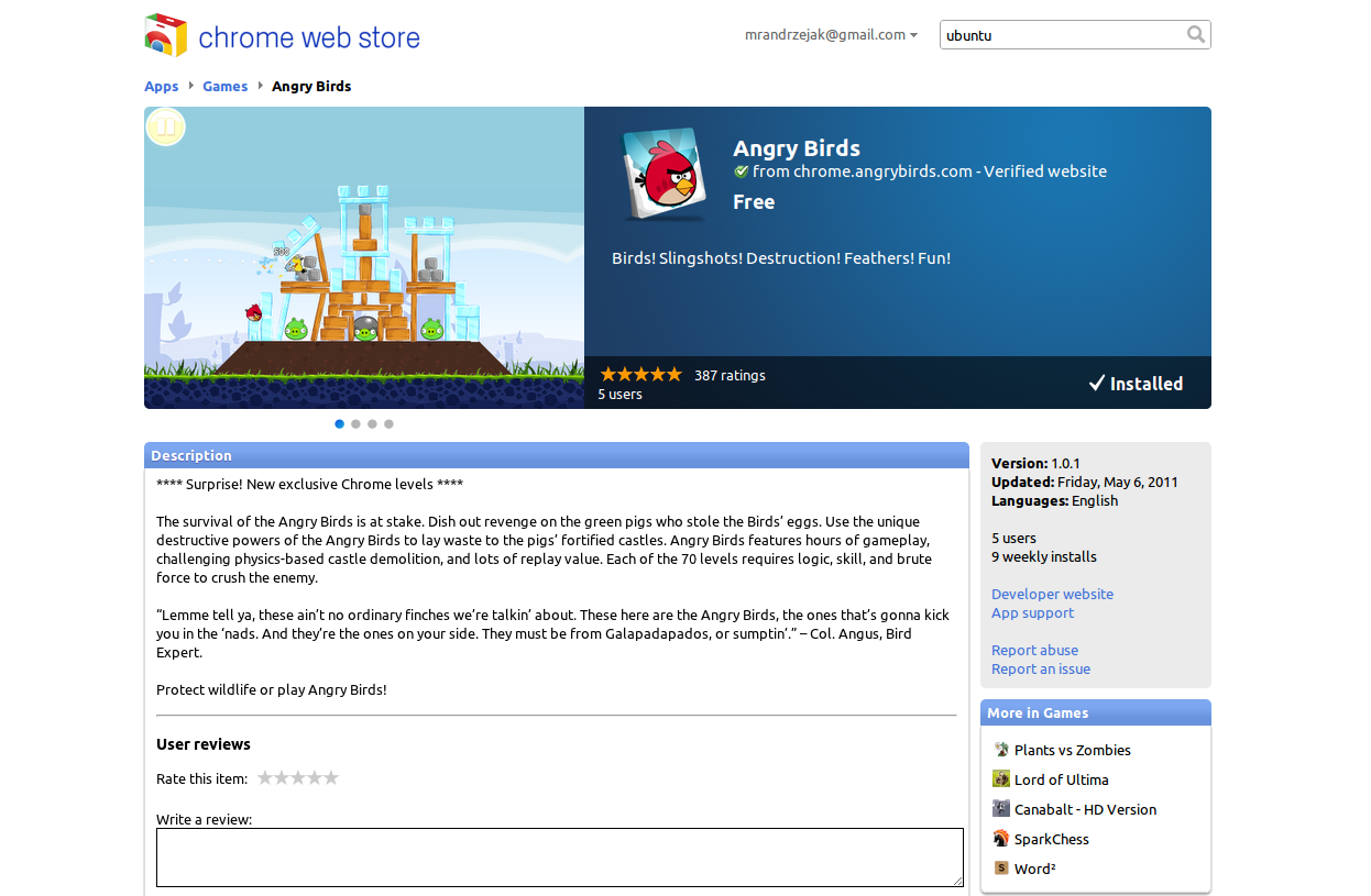 Angry Birds In Chrome Web Store – I Heart Ubuntu