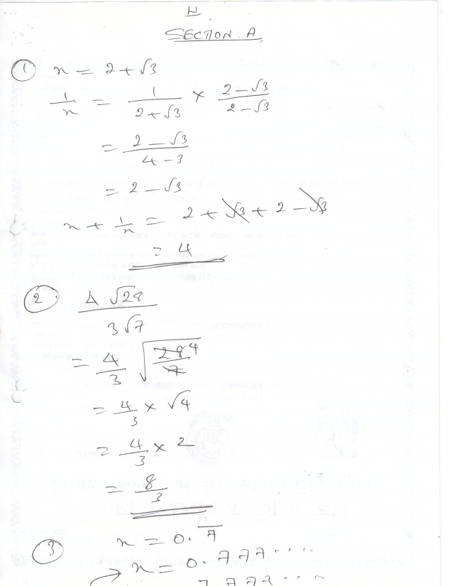 Prajam Math Genius: Class 9 Number system test Question