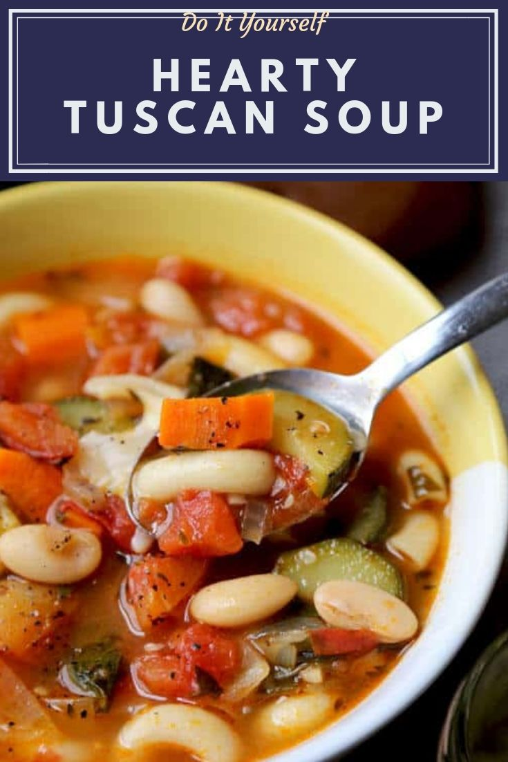 Hearty Tuscan Soup - A comforting vegetable soup recipe with beans and elbow pasta. Nutritious, filling and super healthy! Vegetarian, vegan, delicious!