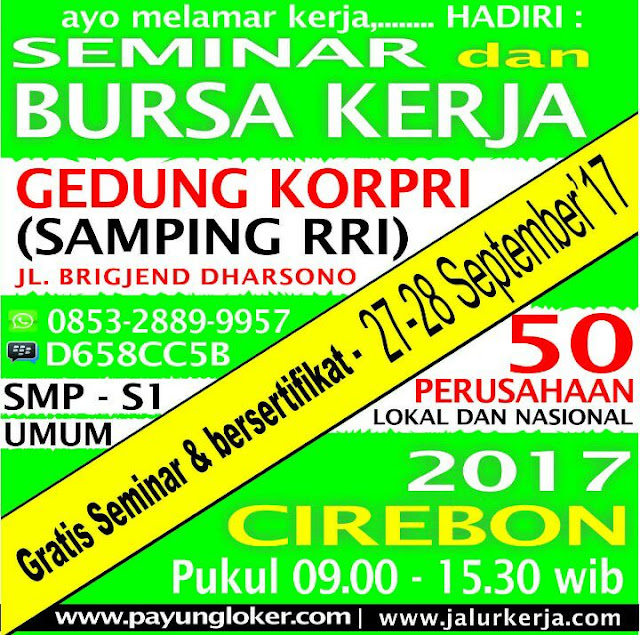 Bursa Kerja Cirebon: Rabu-Kamis 27-28 September 2017 di Gedung Korpri Kota Cirebon