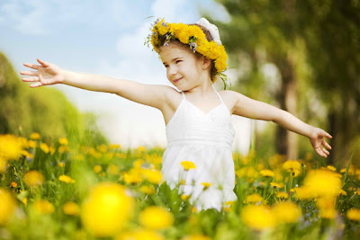 Image of girl with flowers