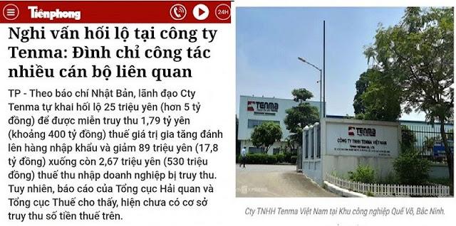 Vụ nghi vấn Tenma hối lộ hơn 5 tỉ: Chưa có cơ sở về số tiền thuế bị truy thu