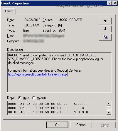 MSSQLSERVER EVENT ID 3041