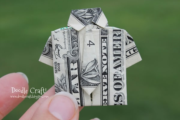 how to fold money into a shirt and tie