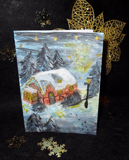 Kartki świąteczne malowane farbami, krajobraz świąteczny DIY
