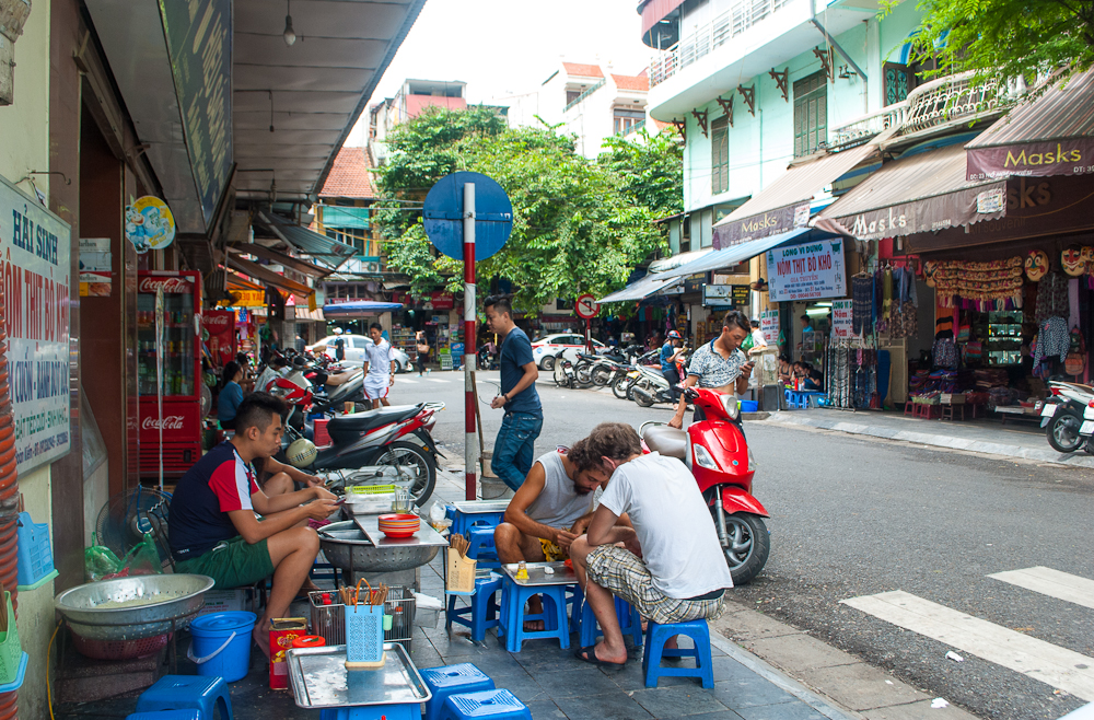 street side food stalls in hanoi, vietnam