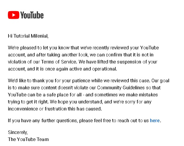 email akun Youtube kembali