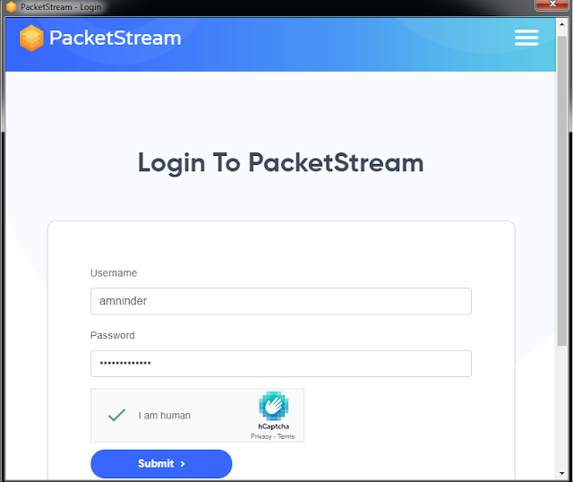 login to PacketStream with same username and password