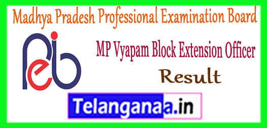 MP Vyapam BEO Madhya Pradesh Block Extension Officer Result 2017-18 Merit List