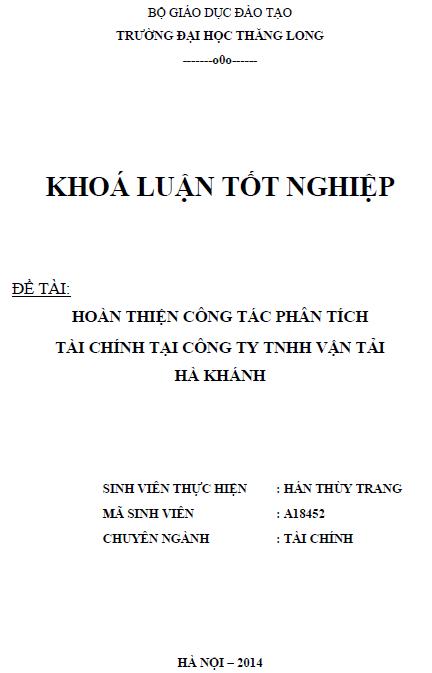 Hoàn thiện công tác phân tích tài chính Công ty TNHH Vận tải Hà Khánh