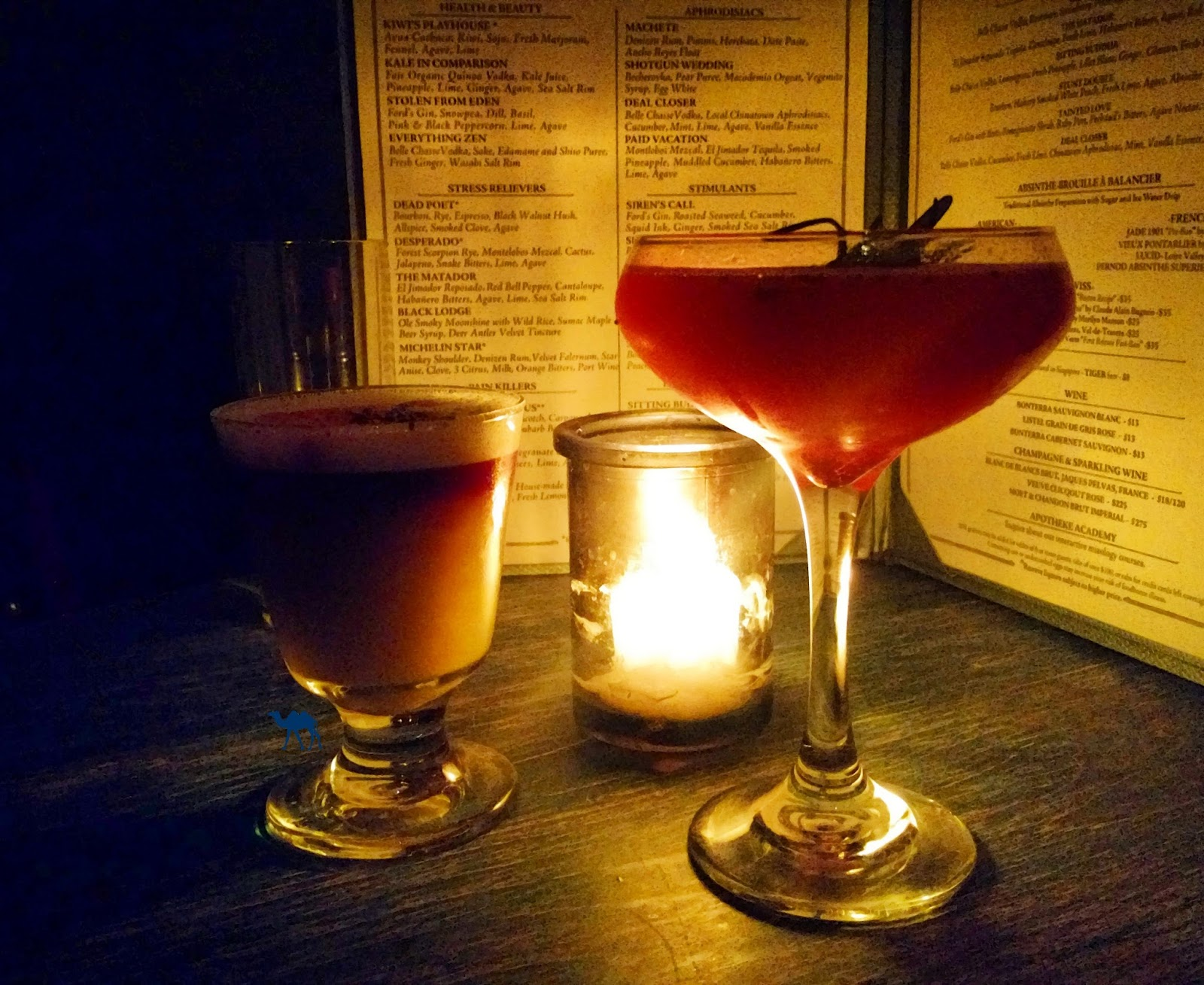 Cocktails de l'Apotheke - Le Chameau Bleu - Blog Voyage New York City - Bar à New York Chinatown