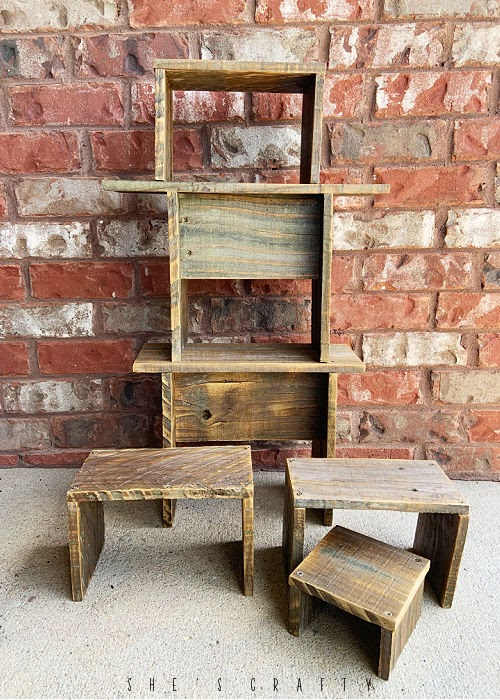 Wooden Stools made from weathered wood fence boards
