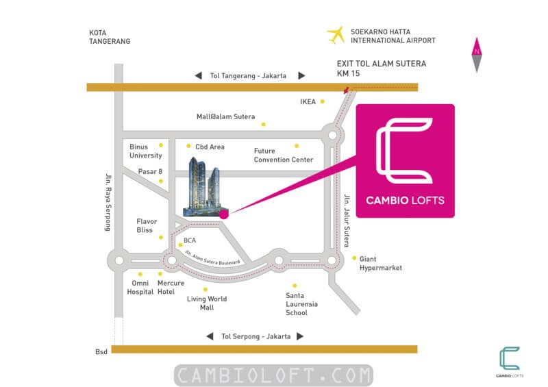 Lokasi Cambio Lofts Alam Sutera