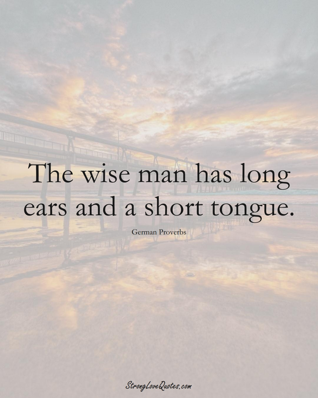 The wise man has long ears and a short tongue. (German Sayings);  #EuropeanSayings