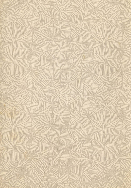 A vintage pattern in beign and gray with an odd spiderweb pattern.