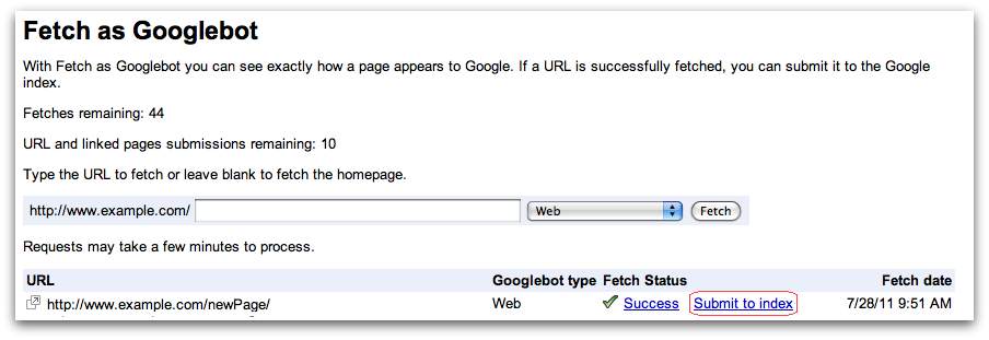 Official Google Webmaster Central Blog: Submit URLs to