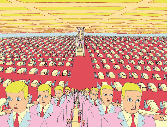 Pushwagner art, identical men marching out of a giant office area at the end of the day