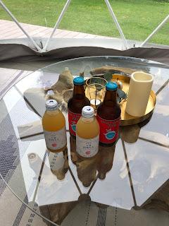 地元ビールと桃ジュースも無料