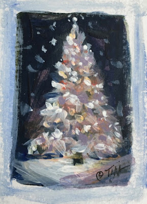 Tiny Christmas tree sketch, 1.5 x 2.25 inches, acrylic on paper, ©2020 Tina M.Welter