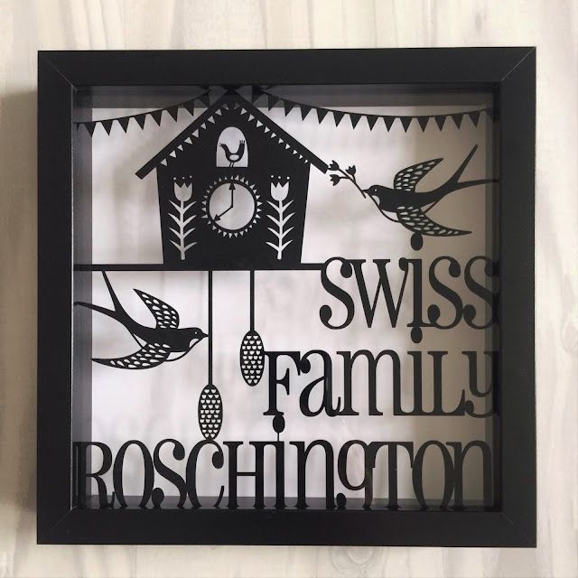 The final product, Scherenschnitte inspired vinyl shadow frame.  Applying vinyl to glass tutorial by Nadine Muir for UK Silhouette Blog