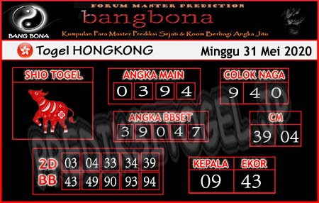 Prediksi HK Minggu 31 Mei 2020 - Bang Bona