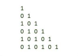 C program binary number triangle pattern