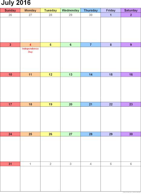 July 2016 Printable Calendar A4, July 2016 Blank Calendar, July 2016 Planner Cute, July 2016 Calendar Download Free