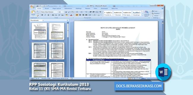 RPP Sosiologi Kurikulum 2013 Kelas 11 (XI) SMA-MA Revisi Terbaru Tahun 2019-2020