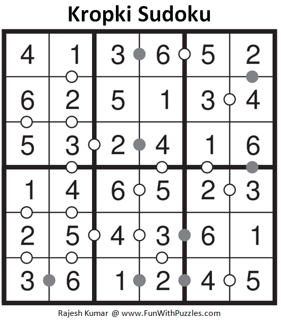 Kropki Sudoku (Sudoku For Kids #67) Solution