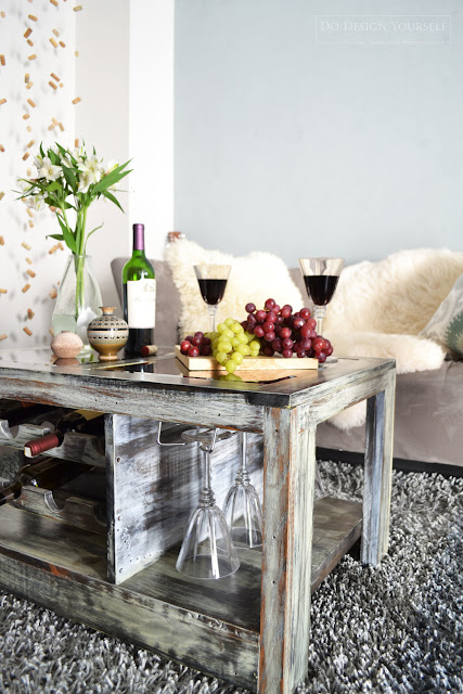 coffee table with wine storage