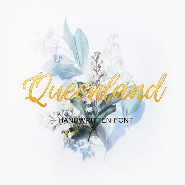 font Queenland ,free script fonts