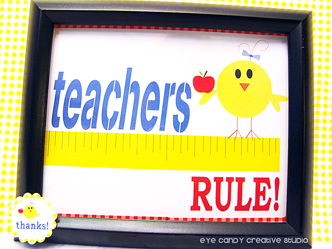 teachers rule art print, framed art print, teacher gift idea, ruler, apple