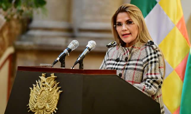 Presidenta Añez: No queremos violentos ni dictadores en Bolivia