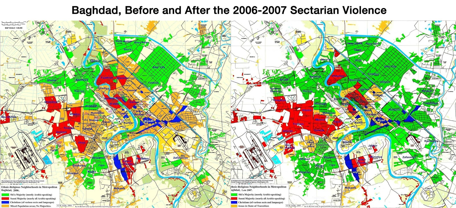 Baghdad, before & after the sectarian violence (2006 - 2007)