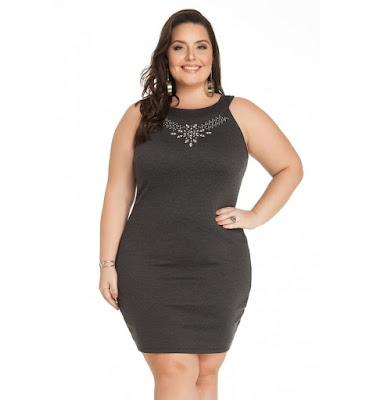 Vestido Mescla Escuro com Pedras Miss Masy Plus Size