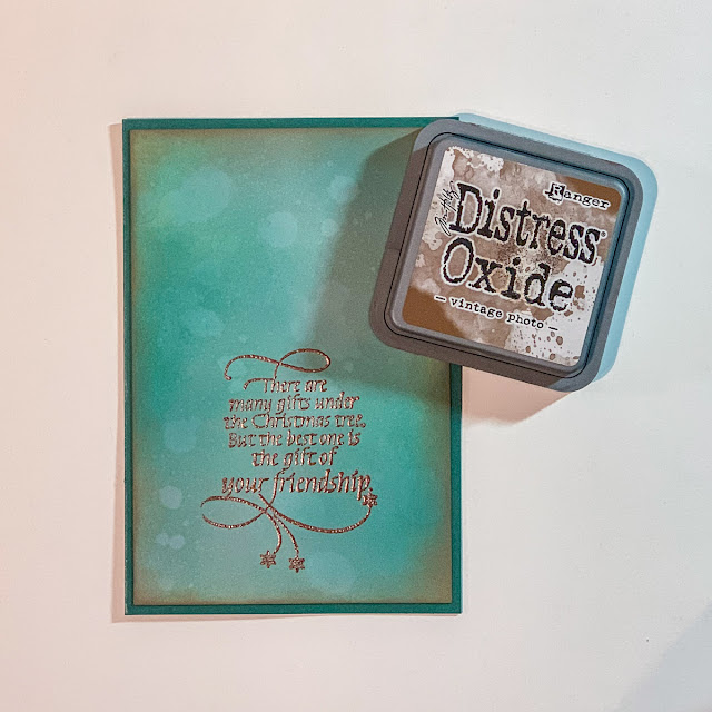 Quietfire Design There Are So Many Gifts stamp set / Copper Scroll Modern Gilding Powders / Creative Scrapbooker Superstock / Ranger Distress Oxide Inks