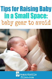 Some new moms are fooled into buying (or registering for) an entire warehouse of baby gear, but the actual checklist of what your baby needs is pretty short. Written from my experience in raising 6 kids, this funny list of the 10 most useless pieces of baby stuff can save you a lot of time and money. #baby #smallspaces #newmom