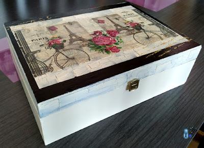 Reciclado de una caja de madera con craquelado y decoupage Ideadoamano