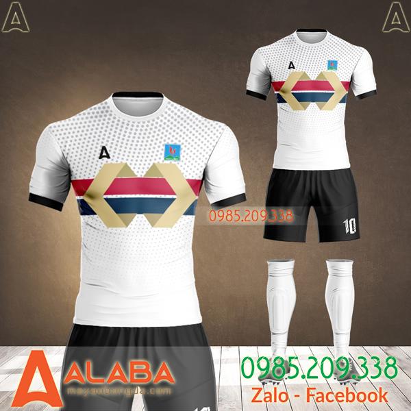 áo bóng đá thiết kế công ty hải linh màu trắng