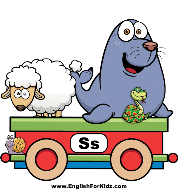 Letter S is for sheep, seal, snake, snail - ABC train wall decor